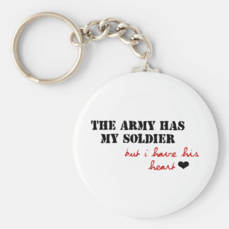 The Army has my Soldier, but I have his Heart Basic Round Button Keychain