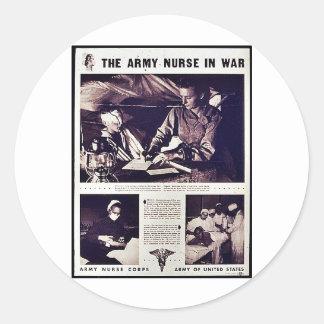 The Army Nurse In War Classic Round Sticker