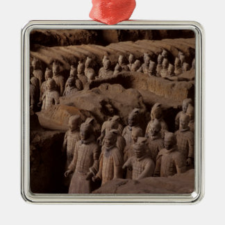 The Army of terra cotta warriors at Emperor Qin Square Metal Christmas Ornament