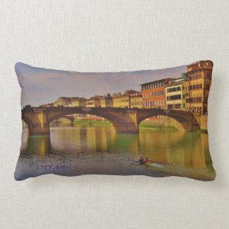 The Arno at Dusk, Cotton Throw Lumbar Pillow