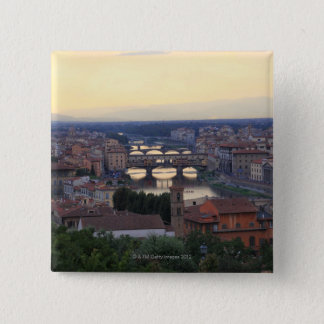 The Arno River and Ponte Vecchio in Florence, Pinback Button