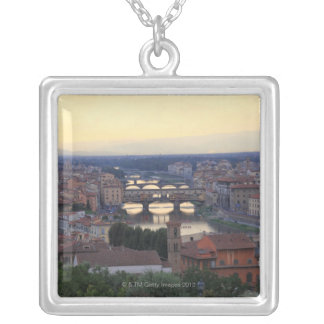The Arno River and Ponte Vecchio in Florence, Silver Plated Necklace