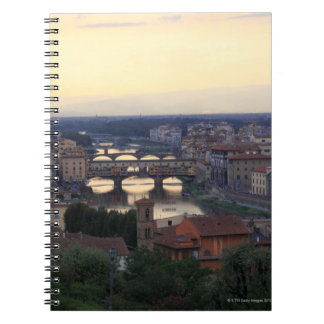 The Arno river and Ponte Vecchio in Florence, Spiral Notebook
