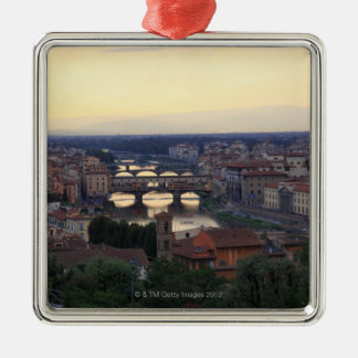 The Arno river and Ponte Vecchio in Florence, Square Metal Christmas Ornament