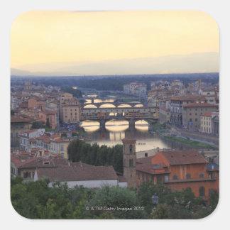 The Arno River and Ponte Vecchio in Florence, Square Sticker