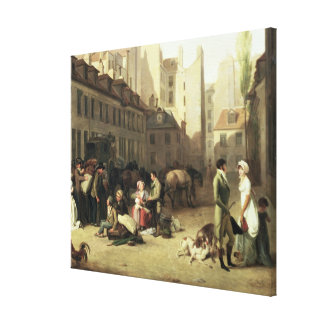 The Arrival of a Stage Coach at the Terminus, deta Canvas Print