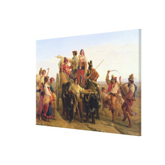 The Arrival of  Harvesters in the Pontine Canvas Print