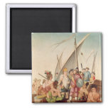 The Arrival of Hernando Cortes  in Mexico 2 Inch Square Magnet