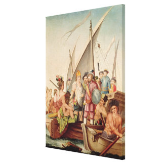 The Arrival of Hernando Cortes  in Mexico Canvas Print
