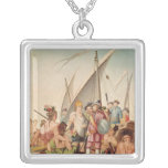 The Arrival of Hernando Cortes  in Mexico Square Pendant Necklace