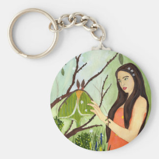 The Arrival of Spring enchanted maiden keychain Basic Round Button Keychain