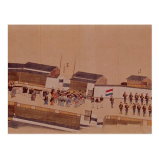 The Arrival of the Dutch in Japan,, 18th century Postcard