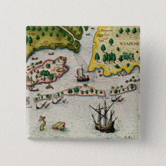 The Arrival of the English in Virginia Button