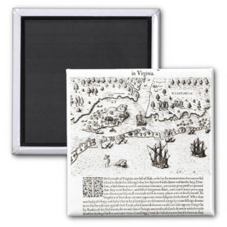 The Arrival of the Englishmen in Virginia 2 Inch Square Magnet