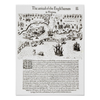 The Arrival of the Englishmen in Virginia Poster