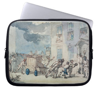 The Arrival of the Fire Engine (w/c, pen and ink, Laptop Computer Sleeve
