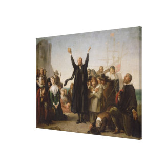 The Arrival of the Pilgrim Fathers, c.1864 (oil on Canvas Print