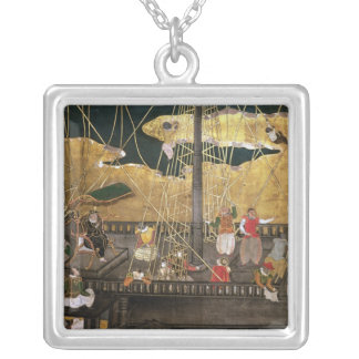 The Arrival of the Portuguese in Japan Square Pendant Necklace