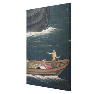 The Arrival of the Portuguese Japan, small cargo Stretched Canvas Print