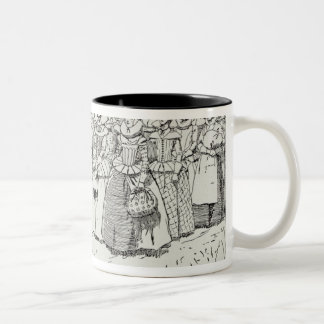 The Arrival of the Young Women at Jamestown Two-Tone Coffee Mug