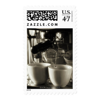 The art of fresh coffee making / pouring postage stamp