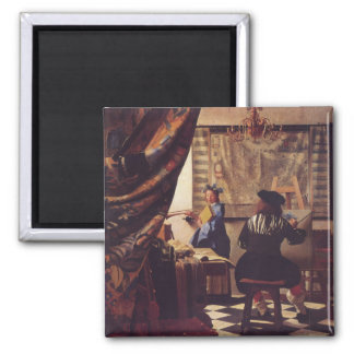 The Art of Painting by Johannes Vermeer 2 Inch Square Magnet