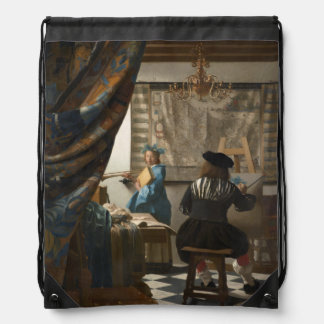 The Art of Painting by Johannes Vermeer Drawstring Backpack