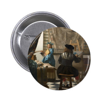 The Art of Painting by Johannes Vermeer Pinback Button