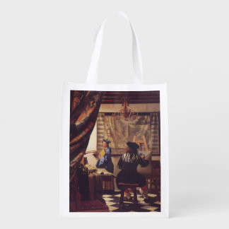 The Art Of Painting by Johannes Vermeer Reusable Grocery Bag