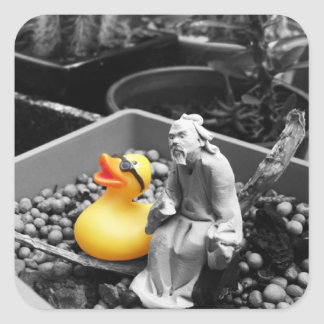 'The Art of Zen' Rubber Duck Stickers (square)