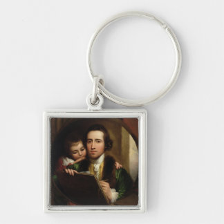 The Artist and his son Raphael, c.1773 (oil on can Keychain