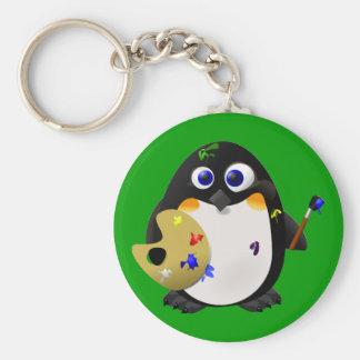"""The Artist"" -- Cute Painter Penguin Key Chains"