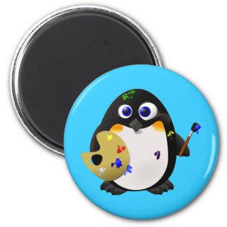"""The Artist"" -- Cute Painter Penguin Magnet"