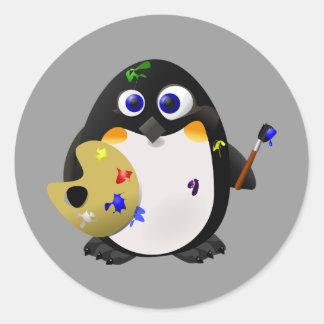 """The Artist"" -- Cute Painter Penguin Classic Round Sticker"