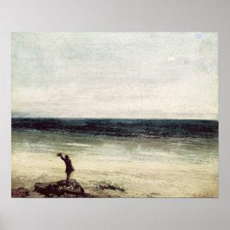 The Artist on the Seashore at Palavas Poster