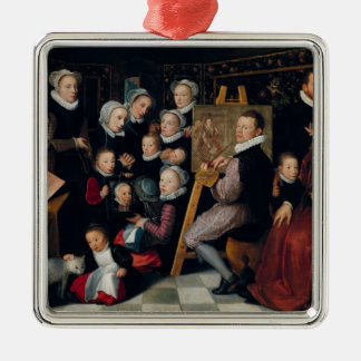 The Artist Painting, Surrounded by his Family Metal Ornament