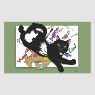 The Artist's Cat Rectangular Sticker