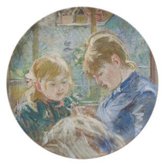 The Artist's Daughter, Julie, with her Nanny Melamine Plate