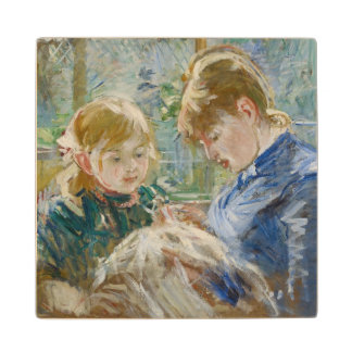 The Artist's Daughter, Julie, with her Nanny Wooden Coaster