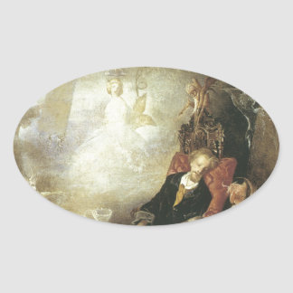 The Artist's Dream,1857 Oval Stickers