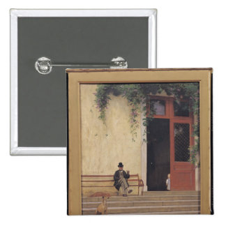 The Artist's Father and Son on the Doorstep Button