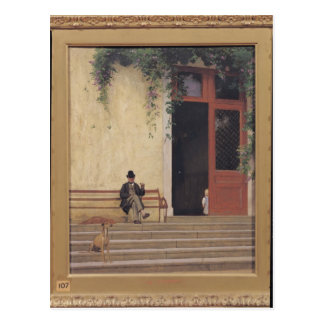 The Artist's Father and Son on the Doorstep Postcard