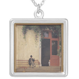 The Artist's Father and Son on the Doorstep Silver Plated Necklace