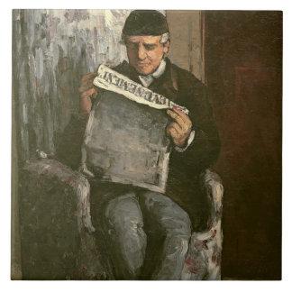 """The Artist's Father, Reading """"L'Événement"""", 1866 Ceramic Tile"""