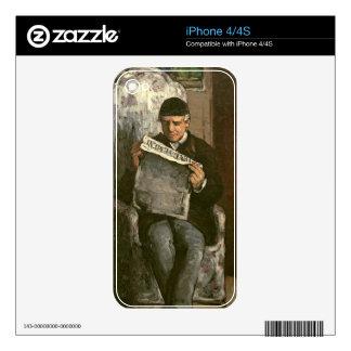 """The Artist's Father, Reading """"L'Événement"""", 1866 iPhone 4S Decal"""