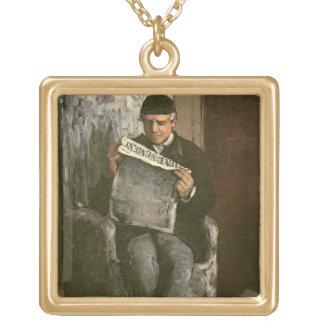 """The Artist's Father, Reading """"L'Événement"""", 1866 Square Pendant Necklace"""