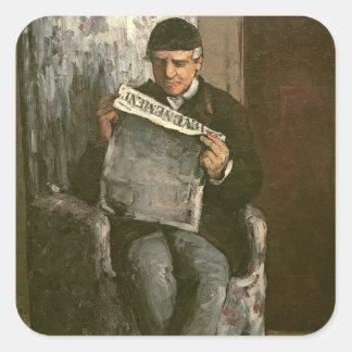 """The Artist's Father, Reading """"L'Événement"""", 1866 Square Sticker"""
