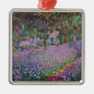 The Artist's Garden at Giverny, 1900 Square Metal Christmas Ornament