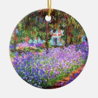 The Artist's Garden at Giverny, Claude Monet Double-Sided Ceramic Round Christmas Ornament