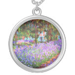 The Artist's Garden at Giverny, Claude Monet Round Pendant Necklace